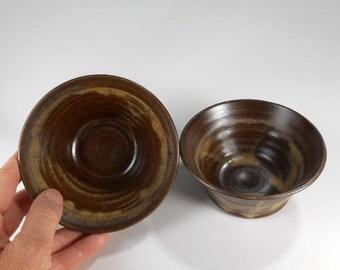 Pottery nesting bowls set of 2 - ceramic dip salsa bowls - ceramic kitchen prep bowls - pottery dipping bowls - stoneware bowls  brown glaze
