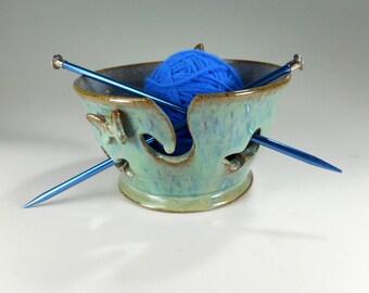 Ceramic yarn bowl, pottery knitting bowl, ceramic crochet holder, stoneware yarn bowl with butterfly, yarn keeper