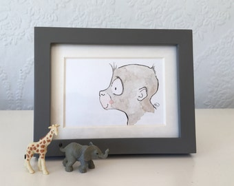 Mini Original Watercolor of Monkey--comes framed!