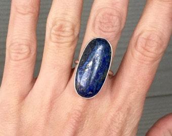 Lapis Lazuli Ring | Deep Blue Ring | Lapis Ring | Oval Ring | Bezel ring | Gemstone ring | Gift for Her | Boho | Rocker | Elongated Oval