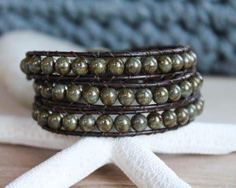 Picasso Czech Leather Bracelet, Leather Wrap Bracelet, Wrap Bracelet, Jewelry, Bohemian, Boho Chic Jewelry, Triple Wrap