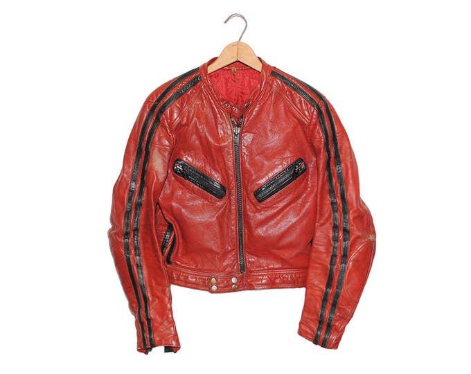 Vintage Red & Black Michael Jackson Thriller Style International Leather Motorcycle Jacket (so-jkt-17)