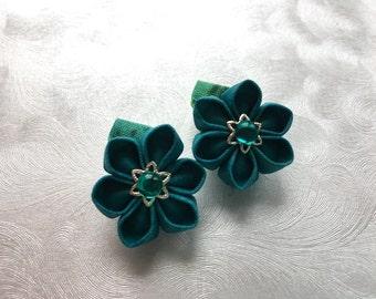 Aqua Drops Miniature Kanzashi Flower Snap Clip Pair