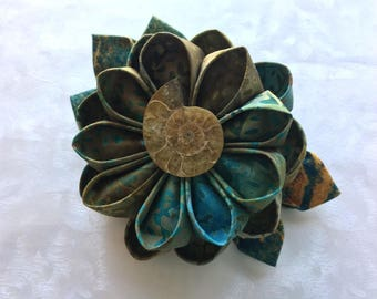 Good Gracious Cretaceous Kanzashi Flower Hair Clip with Ammonite Fossil