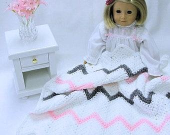 Crocheted Doll Blanket - Sasha - American Girl Doll - Chevron - Gotz - Lap Blanket - Comforter - Picnic Blanket - White Pink Warm Grey