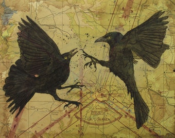 Original Drawing - Grackles fighting - Austin Tx  - Map Drawing - Mixed Media with poem - Made to Order