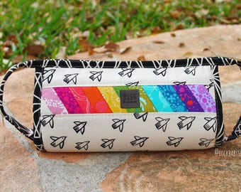 Black & White Patchwork Rainbow Sew Together Bag | project bag | makeup bag | toiletry bag | travel bag | large zipper pouch