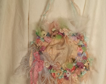 Silk Formal Fairy Purse Monets Garden Art to Wearwith Antique Silk Base and Adorned with my Artwork