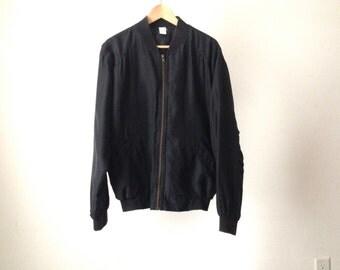 silk black COLOR BLOCK 90s hip hop UNIQUE bomber jacket