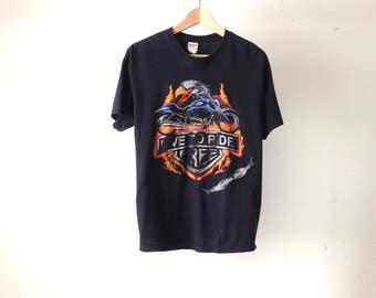 "WISCONSIN Dells HARLEY 90s biker gang harley ""LIVE To Ride Free"" t-shirt"