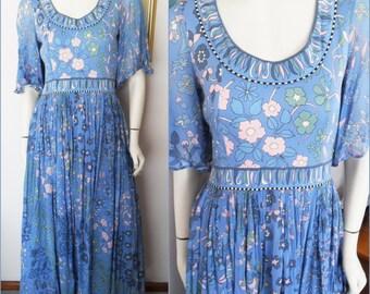 Vtg60/70s Bessi Silk Blue Pink Floral Angel Sleeve Maxi Gown Dress.S/M.Bust 36-38.Waist 28.