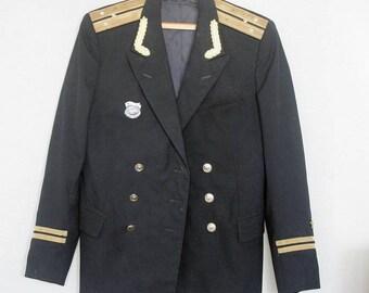 Soviet Military Uniform  - Russian Navy Officer Blazer- 1970s - 1980s Naval Jacket- from Russia / Soviet Union / USSR