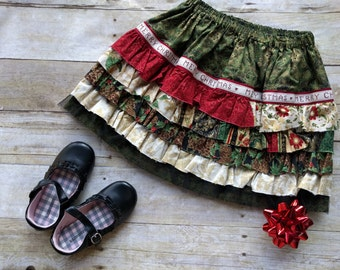 Girls Christmas Ruffle Skirt / Size 4 - Ready to Ship / Girls Holiday Skirt / Little Girls Holiday Skirt/ Shabby Chic Christmas skirt
