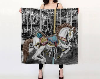 """Carousel Horse Pure Silk Square Scarf Large 26"""" or Extra-Large 36"""" Vintage Fairground Photographic Print"""