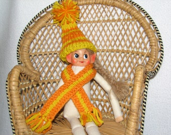 Elf Stocking Cap and Scarf - Elf Accessories - Elf Clothes - RTG - in Orange and Yellow Wool