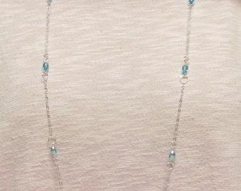 "37"" Aqua AB Crystal Beaded Necklace Set #20322"