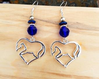 Blue Heart Horse Earrings, Cobalt Blue Horse Heart Sterling Silver Earrings, Horse Sterling Earrings, Blue Horse Earrings