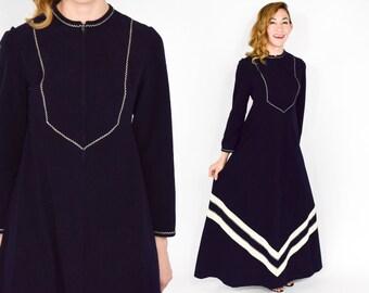 70s Black Velvet Dress | Long Embroidered Velveteen Hostess Dress | Small