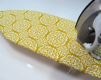 Ironing Board Cover TABLE TOP - mustard and off white moroccan pattern