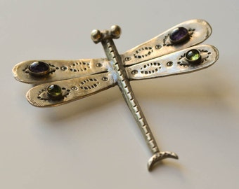 Sterling Dragonfly Brooch Amethyst and Peridot Vintage Silver Dragonfly Brooch or Pendant