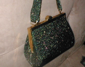 Vintage Iridescent Hunter Green Beaded Evening Purse