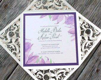 Shimmering Ivory Laser Cut Folder with Purple - SPRING TULIPS - *Sample* Eggplant Purple Layer Wedding Invitation with RSVP