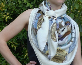 Handmade Thin Buckle Shaped WHITE Natural Horn Ring for your Hermes Silk Scarf or Shawl