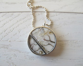 handmade sterling silver pendant and necklace with shell inlay