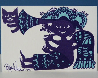 Bjorn Wiinblad Cat and a Horn Greetings card