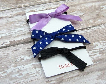 Purple, Blue & Black Ponytail Bow Elastic, Girls Ponytail Elastic, Bow Ponytail Holder, Womens Pontail Holder,  Hair Tie, Set of 3