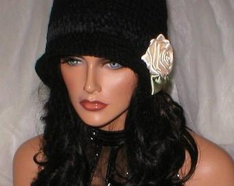 35% OFF SALE Crochet Womens Black Ebony Suede Cream Rose 1920's Cloche Flapper Hat