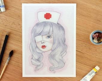 Nurse Cecilia. 5x7 Fine art archival print. Watercolour illustration. Kawaii