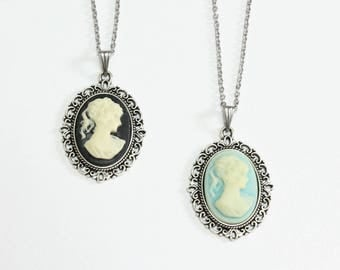 Small Cameo Necklace (Black or Light Blue)