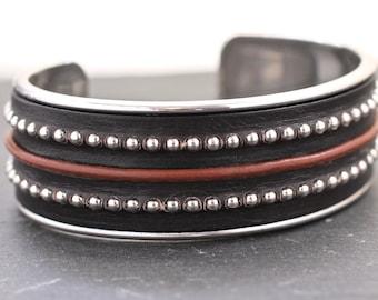 Big Cuff Wide Leather Bracelet Mens Bracelet Mens Leather Jewelry Leather Gift For Man Gift For Him Silver Jewelry Gift Under 50 Handsome