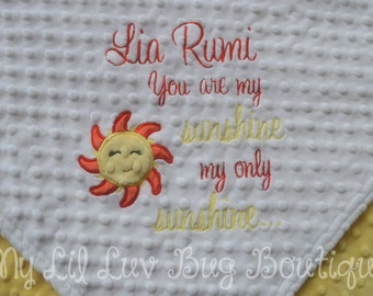 Large personalized minky baby blanket-sunshine blanket white and yellow-you are my sunshine- stroller blanket-name baby blanket