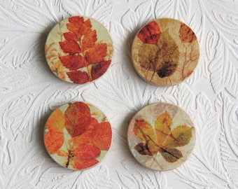 Fall Leaves Wooden Set of 4  W006
