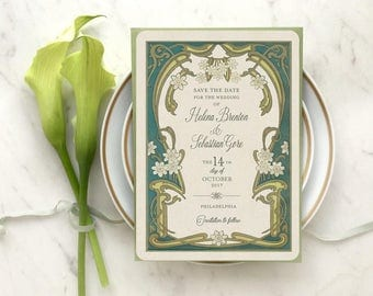 Greenery Wedding, Save the Date Invitations, Save the Dates, Art Nouveau Wedding, Greenery Wedding Invitations, Le Marguerite