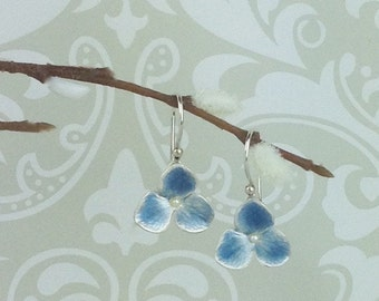 Blue hydrangea earrings - silver