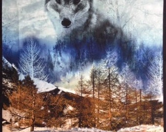 "Dakota Wolf from Red Rooster Fabrics - 27"" x 44"" Panel"