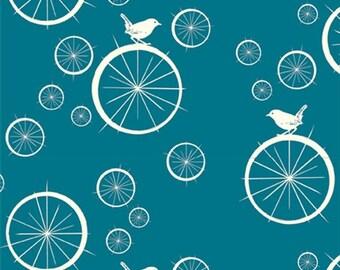 Birdie Spokes Teal from Birch Organic Fabrics - Full or Half Yard Birds on Wheels
