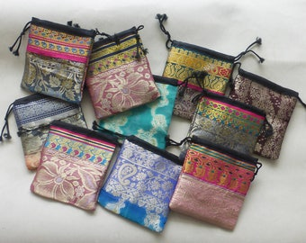 10 drawstrings pouches - one of a kind
