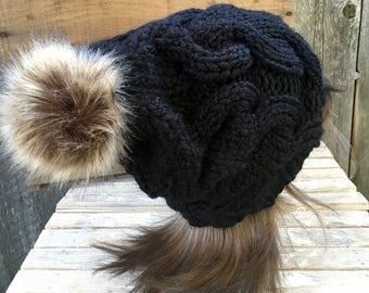 Knit Hat with Faux Fur Pom Pom, Pom Pom Hat, Black Pom Pom Hat, Pom Pom Beanie, Cable Knit Beanie, Cable Knit Pom Pom Hat, Knit Accessories