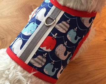 Happy Whales  Small Dog Harness Made in USA, dog harness, dog harnesses