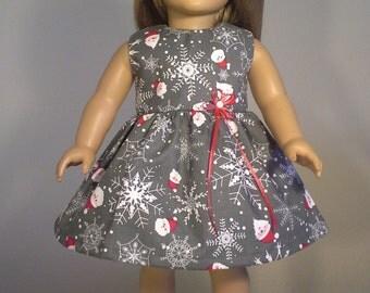 18 inch Doll Clothes Grey Christmas Santa & Snowflake Print Dress fits American Girl Doll Clothes Handmade