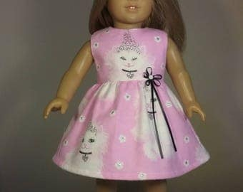 18 inch Doll Clothes Pink Princess Cat Print Dress fits American Girl Doll Clothes Handmade