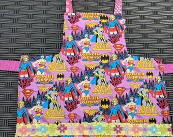 Kids Apron Superhero Reversible Apron Girls Apron Wonder Woman Batgirl Art Smock Toddler Girl Power Apron Girls Apron Handmade Apron 4T-6