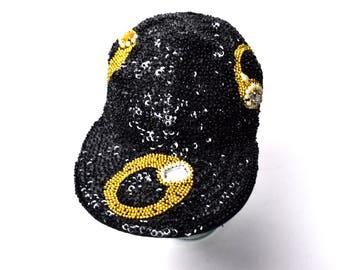 Black and Gold Sequin Cap