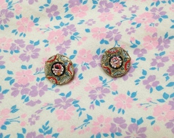 SALE Vintage 1960s Italian Floral Mosaic Clip On Earrings