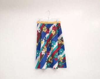 ON SALE Vintage 1970s Floral Striped A-Line Plus Size Midi Skirt