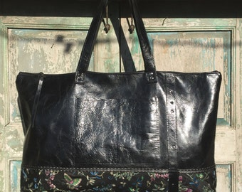 Handmade Black Italian Leather Weekender Bag, Diaper Bag, Work Bag,  with vintage Sari highlights